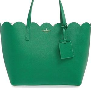 NWOT Kate Spade Green Leather Tote